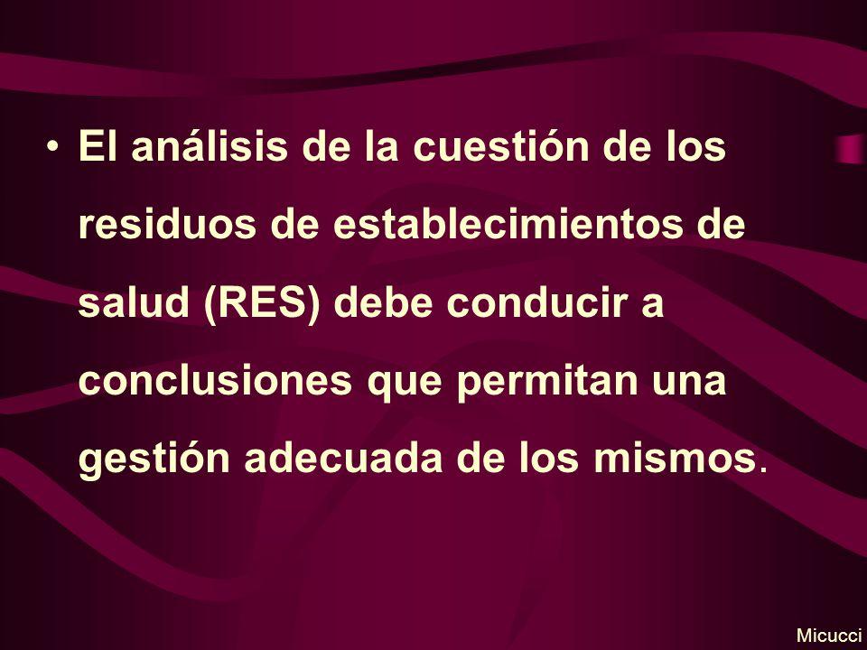 El análisis de la cuestión de los residuos de establecimientos de salud (RES) debe conducir a conclusiones que permitan una gestión adecuada de los mi