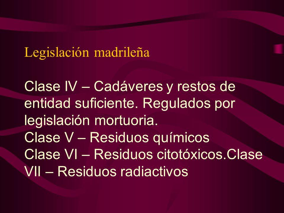 Legislación madrileña Clase IV – Cadáveres y restos de entidad suficiente. Regulados por legislación mortuoria. Clase V – Residuos químicos Clase VI –