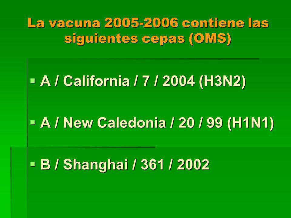 La vacuna 2005-2006 contiene las siguientes cepas (OMS) A / California / 7 / 2004 (H3N2) A / California / 7 / 2004 (H3N2) A / New Caledonia / 20 / 99 (H1N1) A / New Caledonia / 20 / 99 (H1N1) B / Shanghai / 361 / 2002 B / Shanghai / 361 / 2002