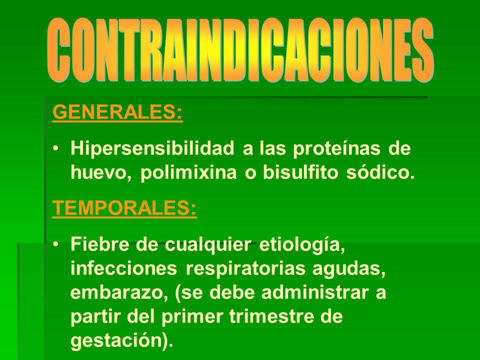 GENERALES: Hipersensibilidad a las proteínas de huevo, polimixina o bisulfito sódico.