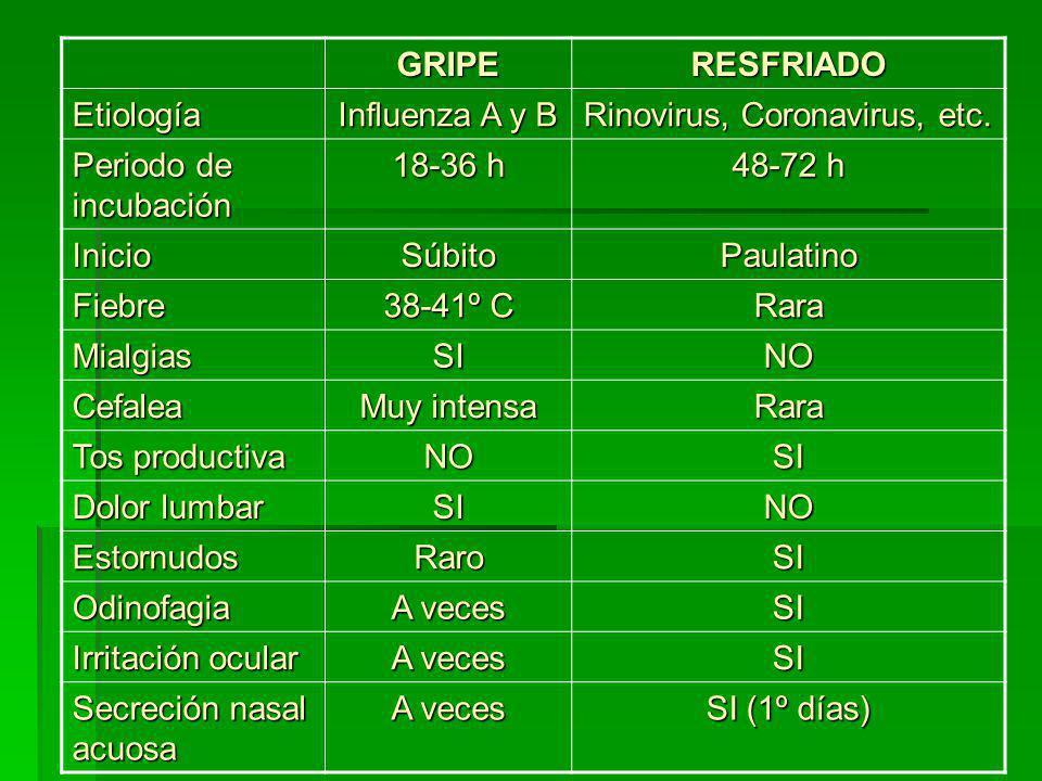 AGENTES CAUSALES DEL RESFRIADO (I) VirusFrecuentesRaros PicornavirusRinovirusEnterovirus Paramixovirus Parainfluenza 1,2 y 3 Parainfluenza 4 Mixovirus Gripes A y B VSR Gripe C Coronavirus 2 tipos Reovirus Tipo 1 Adenovirus Tipos 1,2,3,4,5,6 Tipos 7, 14, 21