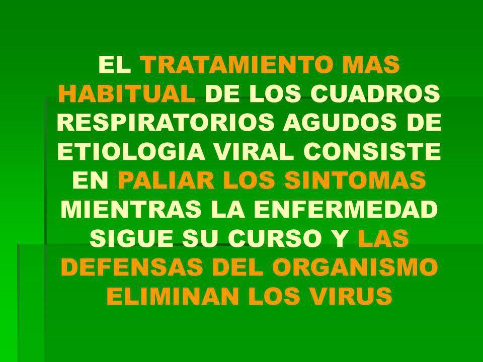 EL TRATAMIENTO MAS HABITUAL DE LOS CUADROS RESPIRATORIOS AGUDOS DE ETIOLOGIA VIRAL CONSISTE EN PALIAR LOS SINTOMAS MIENTRAS LA ENFERMEDAD SIGUE SU CURSO Y LAS DEFENSAS DEL ORGANISMO ELIMINAN LOS VIRUS
