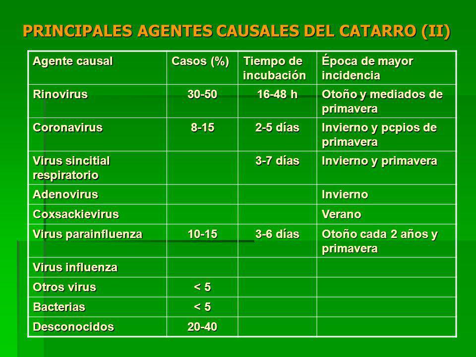 PRINCIPALES AGENTES CAUSALES DEL CATARRO (II) Agente causal Casos (%) Tiempo de incubación Época de mayor incidencia Rinovirus30-50 16-48 h Otoño y mediados de primavera Coronavirus8-15 2-5 días Invierno y pcpios de primavera Virus sincitial respiratorio 3-7 días Invierno y primavera AdenovirusInvierno CoxsackievirusVerano Virus parainfluenza 10-15 3-6 días Otoño cada 2 años y primavera Virus influenza Otros virus < 5 Bacterias Desconocidos20-40