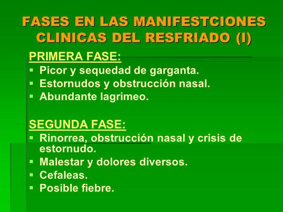 FASES EN LAS MANIFESTCIONES CLINICAS DEL RESFRIADO (I) PRIMERA FASE: Picor y sequedad de garganta.