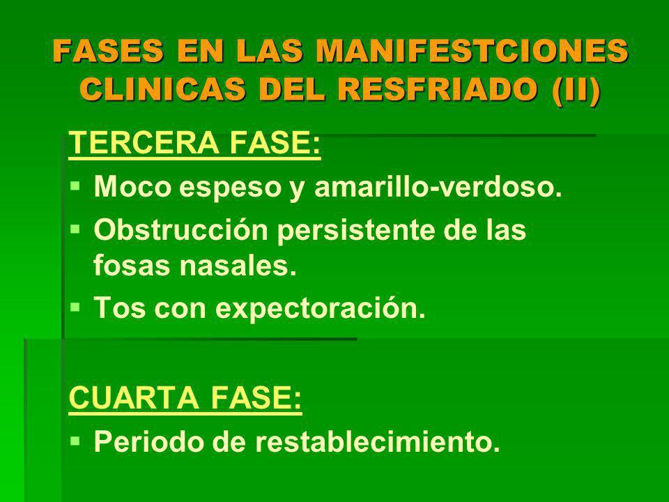 FASES EN LAS MANIFESTCIONES CLINICAS DEL RESFRIADO (II) TERCERA FASE: Moco espeso y amarillo-verdoso.