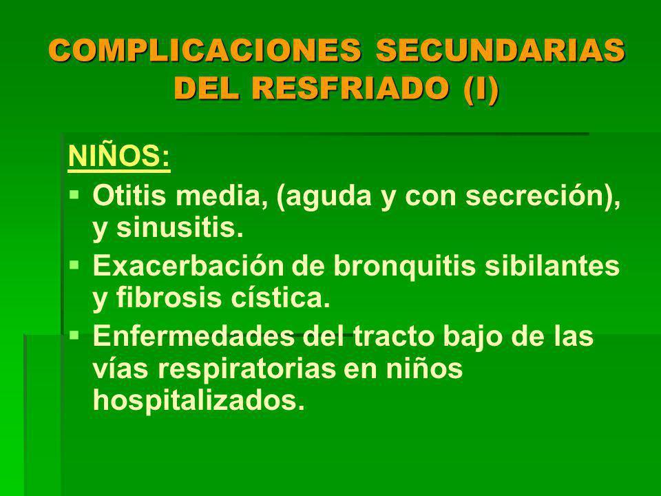 COMPLICACIONES SECUNDARIAS DEL RESFRIADO (I) NIÑOS: Otitis media, (aguda y con secreción), y sinusitis.