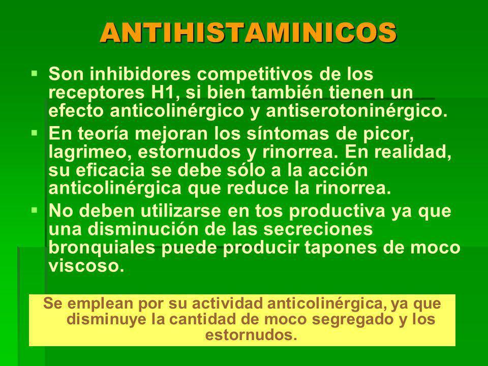 ANTIHISTAMINICOS Son inhibidores competitivos de los receptores H1, si bien también tienen un efecto anticolinérgico y antiserotoninérgico.
