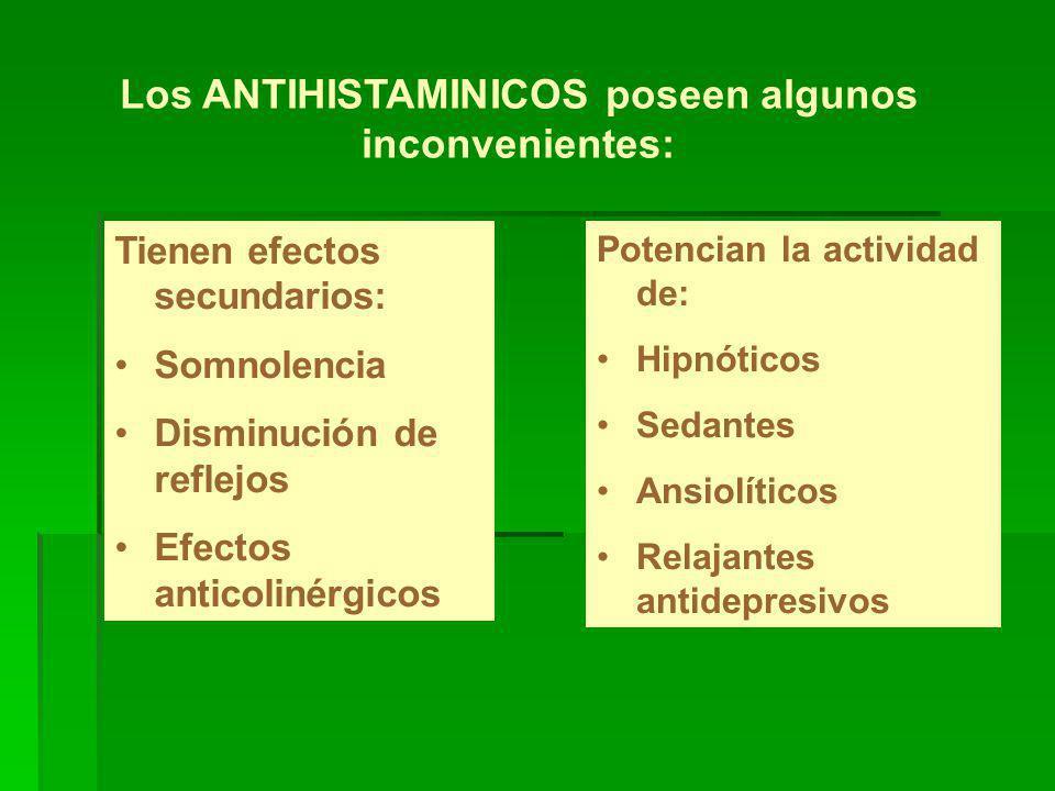Los ANTIHISTAMINICOS poseen algunos inconvenientes: Tienen efectos secundarios: Somnolencia Disminución de reflejos Efectos anticolinérgicos Potencian la actividad de: Hipnóticos Sedantes Ansiolíticos Relajantes antidepresivos