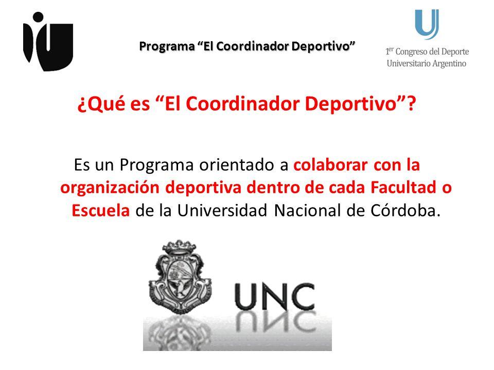 Programa El Coordinador Deportivo ¿Qué es El Coordinador Deportivo? Es un Programa orientado a colaborar con la organización deportiva dentro de cada