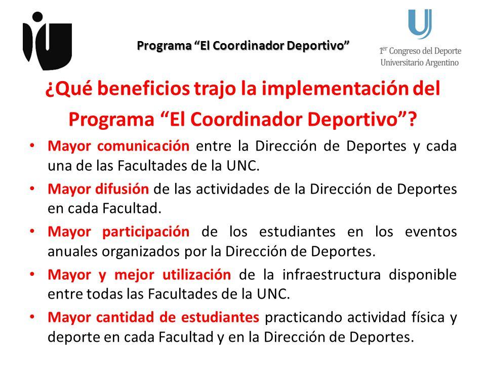 Programa El Coordinador Deportivo ¿Qué beneficios trajo la implementación del Programa El Coordinador Deportivo? Mayor comunicación entre la Dirección