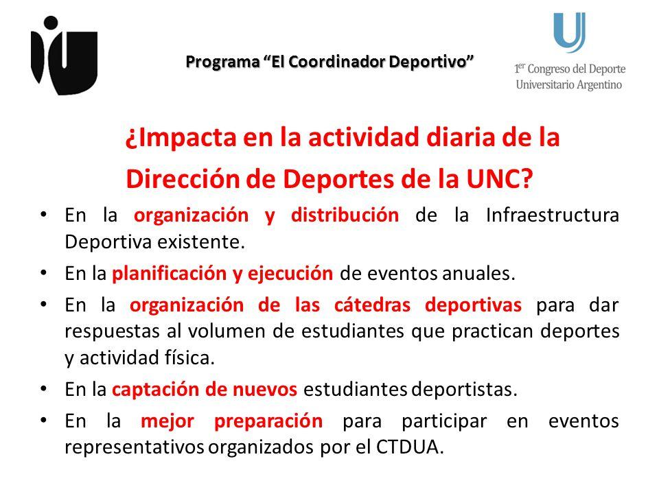 Programa El Coordinador Deportivo ¿Impacta en la actividad diaria de la Dirección de Deportes de la UNC? En la organización y distribución de la Infra