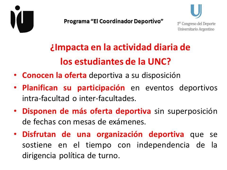 Programa El Coordinador Deportivo ¿Impacta en la actividad diaria de los estudiantes de la UNC? Conocen la oferta deportiva a su disposición Planifica