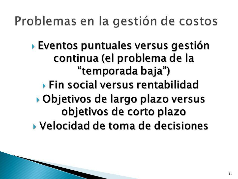 Eventos puntuales versus gestión continua (el problema de la temporada baja) Eventos puntuales versus gestión continua (el problema de la temporada ba