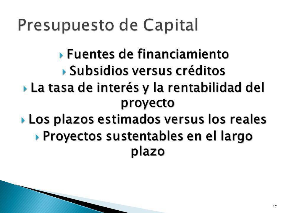 Fuentes de financiamiento Fuentes de financiamiento Subsidios versus créditos Subsidios versus créditos La tasa de interés y la rentabilidad del proye