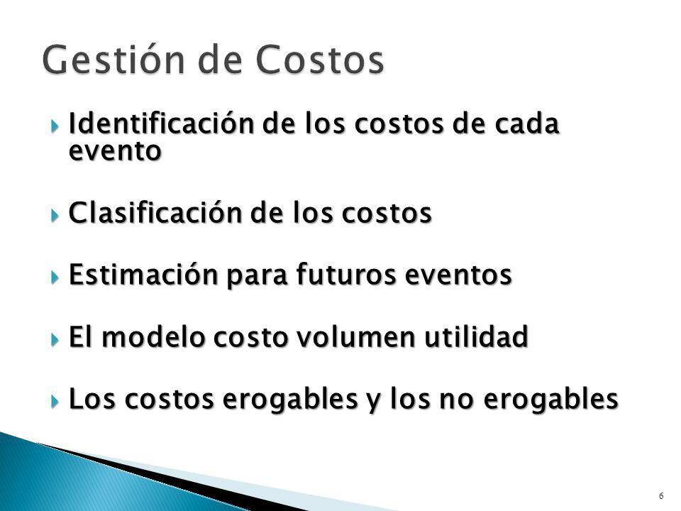 Identificación de los costos de cada evento Identificación de los costos de cada evento Clasificación de los costos Clasificación de los costos Estima