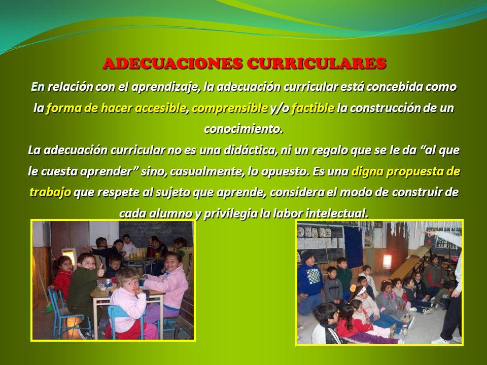 ADECUACIONES CURRICULARES En relación con el aprendizaje, la adecuación curricular está concebida como la forma de hacer accesible, comprensible y/o f