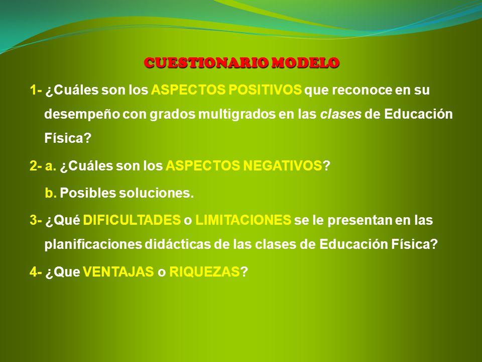 CUESTIONARIO MODELO 1- ¿Cuáles son los ASPECTOS POSITIVOS que reconoce en su desempeño con grados multigrados en las clases de Educación Física? 2- a.
