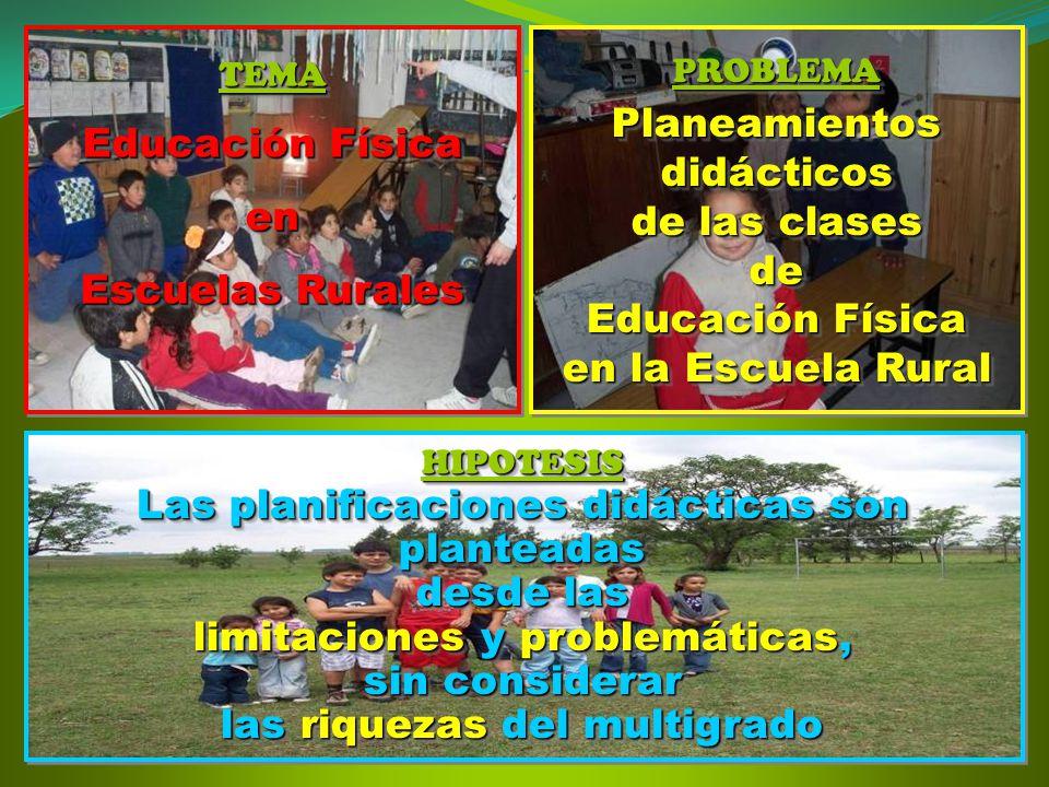 TEMA Educación Física en Escuelas Rurales TEMA Educación Física en Escuelas Rurales PROBLEMAPlaneamientosdidácticos de las clases de Educación Física