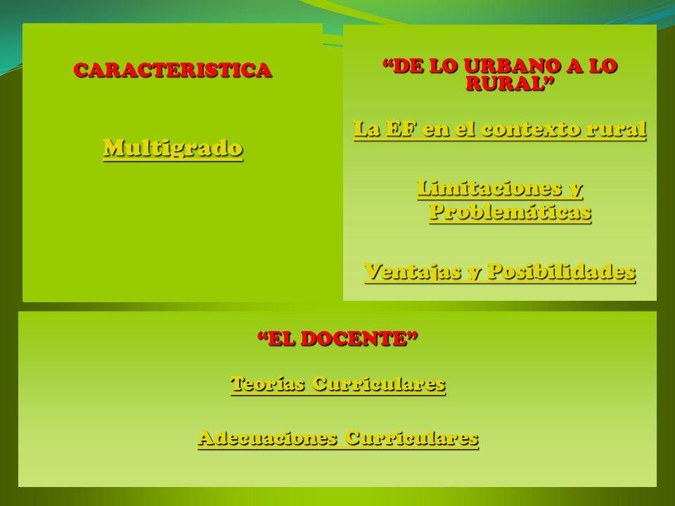 CARACTERISTICA Multigrado DE LO URBANO A LO RURAL La EF en el contexto rural La EF en el contexto rural Limitaciones y Problemáticas Limitaciones y Pr