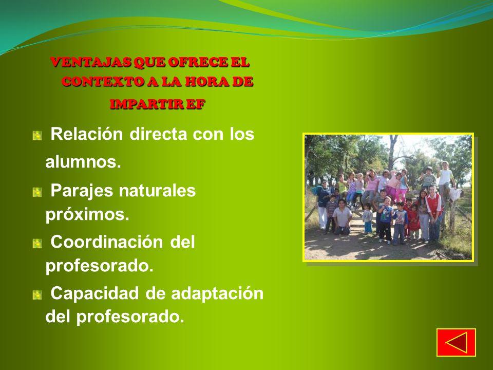 VENTAJAS QUE OFRECE EL CONTEXTO A LA HORA DE IMPARTIR EF Relación directa con los alumnos. Parajes naturales próximos. Coordinación del profesorado. C