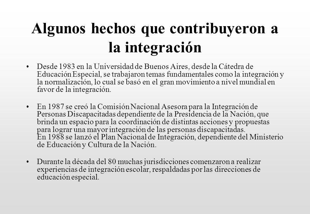 Algunos hechos que contribuyeron a la integración Desde 1983 en la Universidad de Buenos Aires, desde la Cátedra de Educación Especial, se trabajaron temas fundamentales como la integración y la normalización, lo cual se basó en el gran movimiento a nivel mundial en favor de la integración.