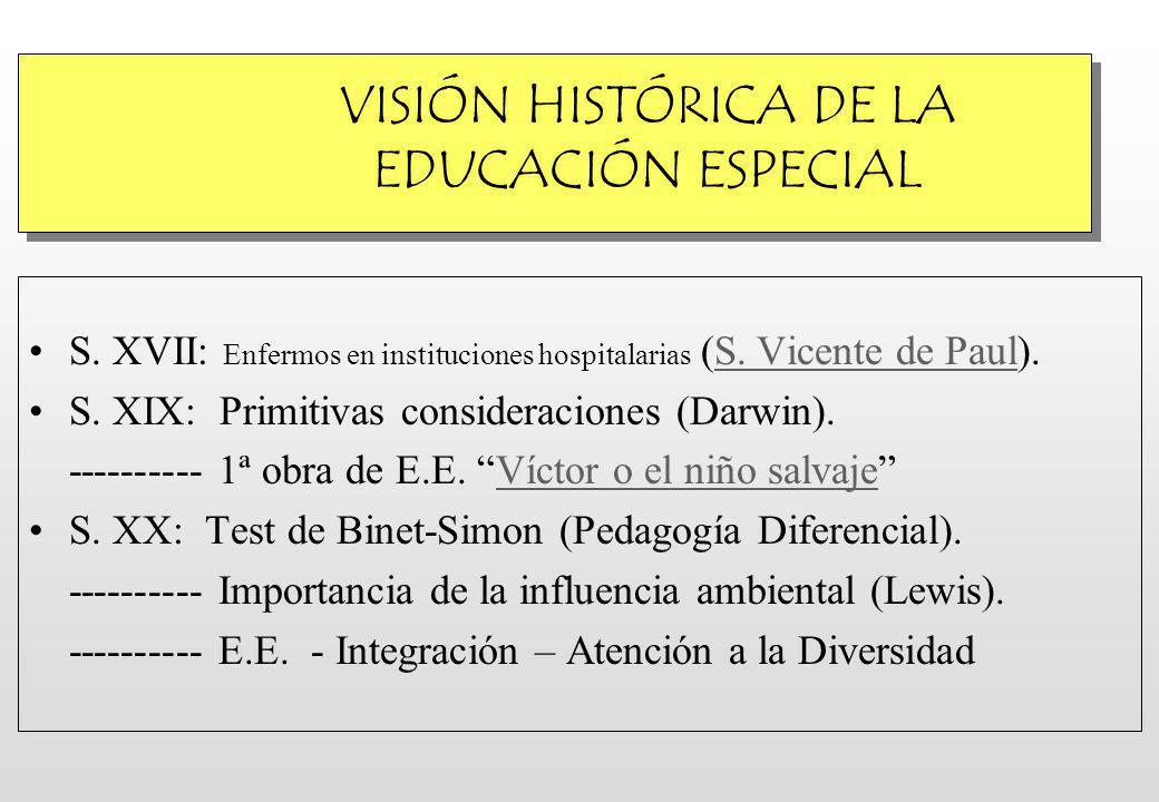 VISIÓN HISTÓRICA DE LA EDUCACIÓN ESPECIAL S.XVII: Enfermos en instituciones hospitalarias (S.