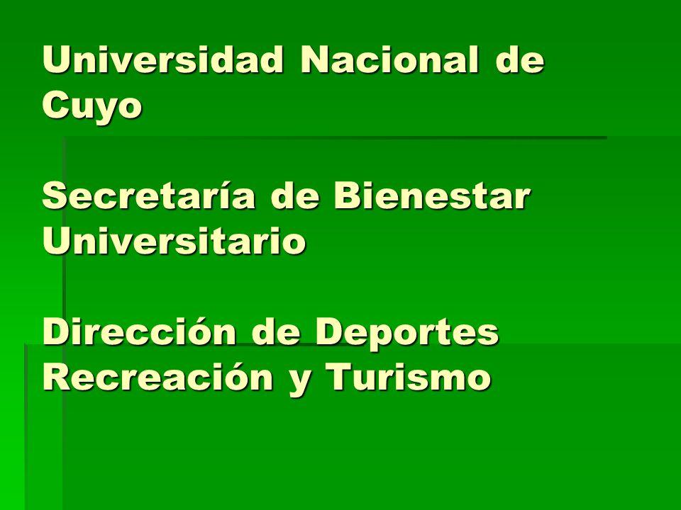 Universidad Nacional de Cuyo Secretaría de Bienestar Universitario Dirección de Deportes Recreación y Turismo