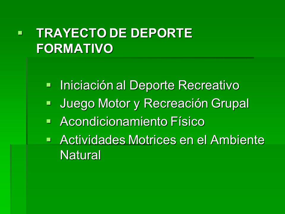 TRAYECTO DE DEPORTE FORMATIVO TRAYECTO DE DEPORTE FORMATIVO Iniciación al Deporte Recreativo Iniciación al Deporte Recreativo Juego Motor y Recreación