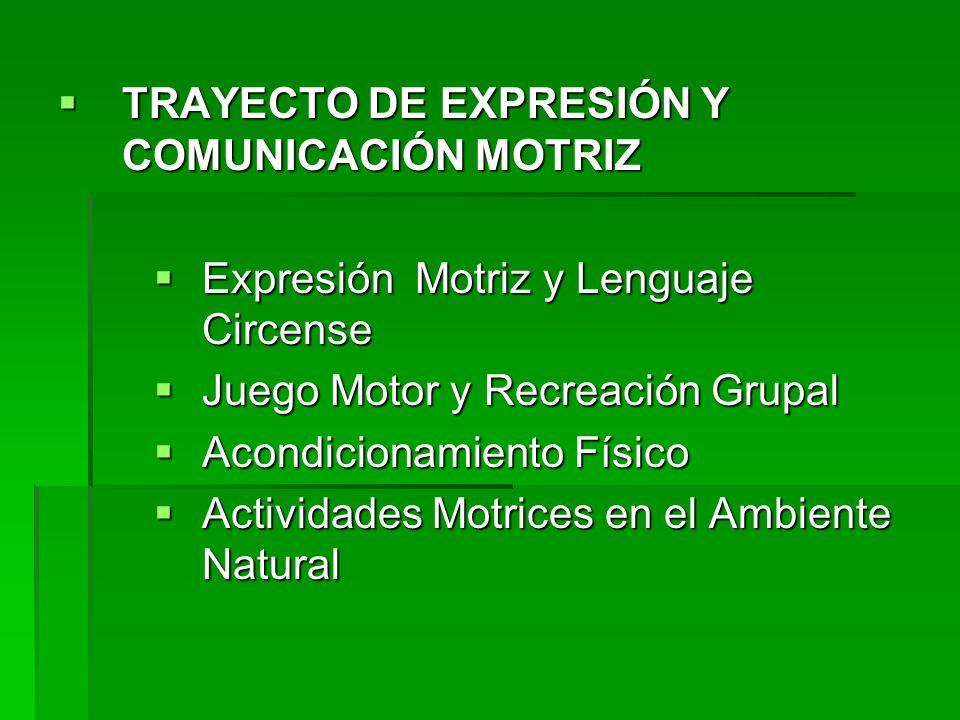 TRAYECTO DE EXPRESIÓN Y COMUNICACIÓN MOTRIZ TRAYECTO DE EXPRESIÓN Y COMUNICACIÓN MOTRIZ Expresión Motriz y Lenguaje Circense Expresión Motriz y Lengua