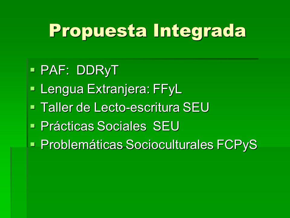 Propuesta Integrada PAF: DDRyT PAF: DDRyT Lengua Extranjera: FFyL Lengua Extranjera: FFyL Taller de Lecto-escritura SEU Taller de Lecto-escritura SEU