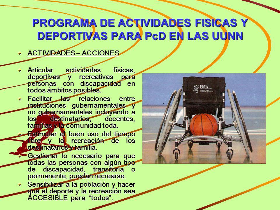 PROGRAMA DE ACTIVIDADES FISICAS Y DEPORTIVAS PARA PcD EN LAS UUNN ACTIVIDADES – ACCIONES Articular actividades físicas, deportivas y recreativas para