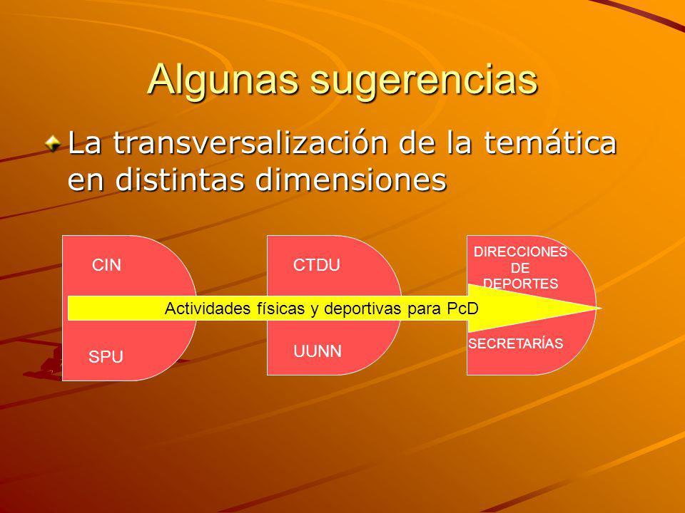 Algunas sugerencias La transversalización de la temática en distintas dimensiones CIN SPU CTDU UUNN DIRECCIONES DE DEPORTES SECRETARÍAS Actividades fí