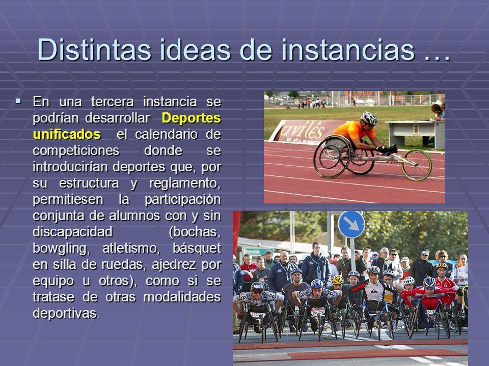 Distintas ideas de instancias … En una tercera instancia se podrían desarrollar Deportes unificados el calendario de competiciones donde se introducir