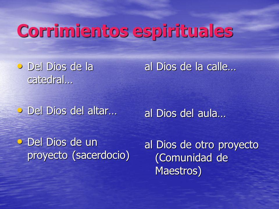 Corrimientos espirituales Del Dios de la catedral… Del Dios de la catedral… Del Dios del altar… Del Dios del altar… Del Dios de un proyecto (sacerdoci