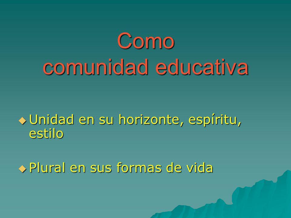 Como comunidad educativa Unidad en su horizonte, espíritu, estilo Unidad en su horizonte, espíritu, estilo Plural en sus formas de vida Plural en sus