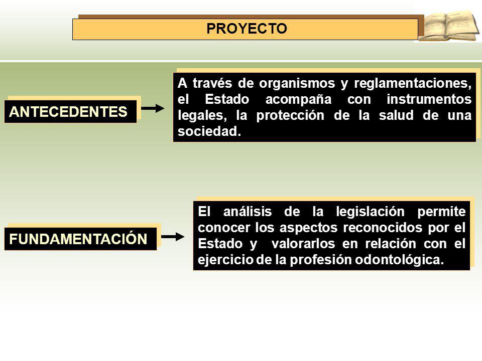 PROYECTO ANTECEDENTES A través de organismos y reglamentaciones, el Estado acompaña con instrumentos legales, la protección de la salud de una socieda