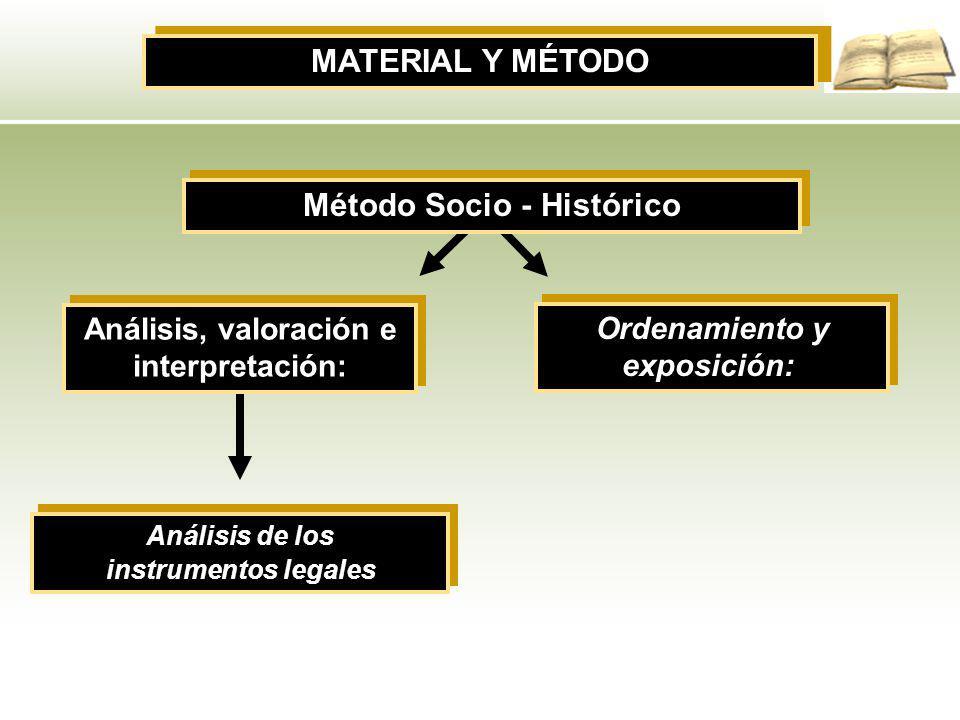 Método Socio - Histórico Análisis, valoración e interpretación: Análisis de los instrumentos legales Análisis de los instrumentos legales MATERIAL Y M