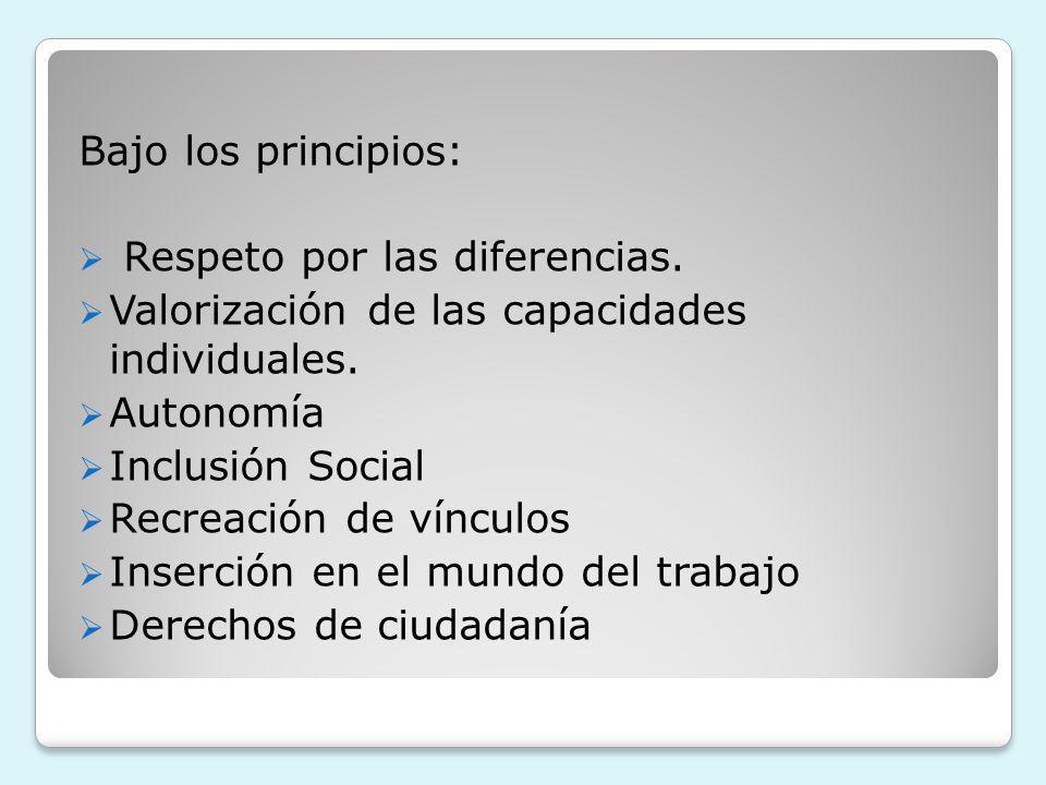 Bajo los principios: Respeto por las diferencias. Valorización de las capacidades individuales. Autonomía Inclusión Social Recreación de vínculos Inse