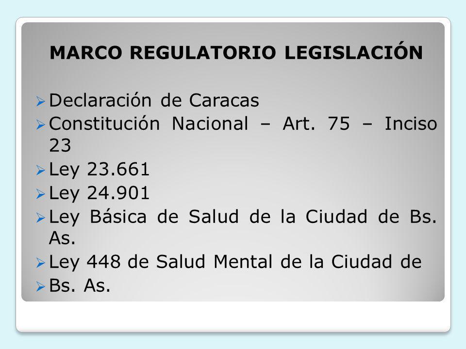 MARCO REGULATORIO LEGISLACIÓN Declaración de Caracas Constitución Nacional – Art. 75 – Inciso 23 Ley 23.661 Ley 24.901 Ley Básica de Salud de la Ciuda