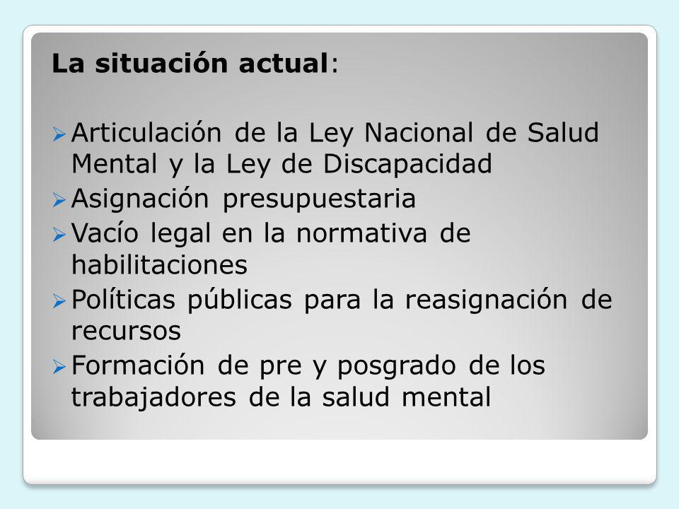 La situación actual: Articulación de la Ley Nacional de Salud Mental y la Ley de Discapacidad Asignación presupuestaria Vacío legal en la normativa de habilitaciones Políticas públicas para la reasignación de recursos Formación de pre y posgrado de los trabajadores de la salud mental