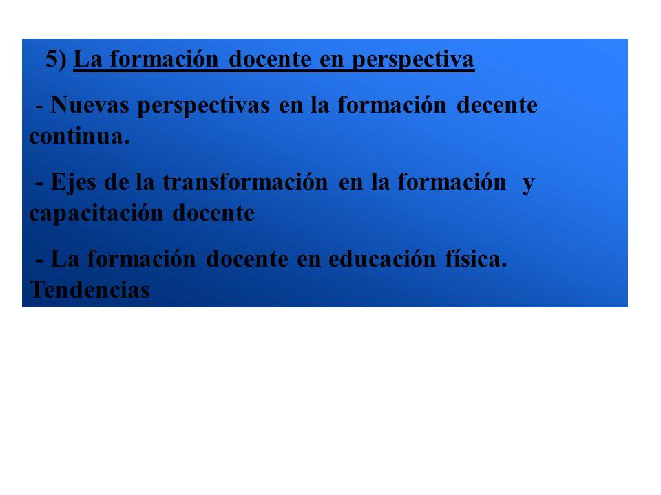5) La formación docente en perspectiva - Nuevas perspectivas en la formación decente continua. - Ejes de la transformación en la formación y capacitac