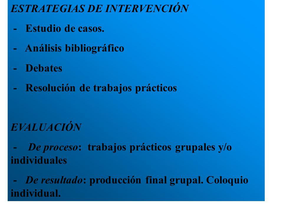 ESTRATEGIAS DE INTERVENCIÓN - Estudio de casos. - Análisis bibliográfico - Debates - Resolución de trabajos prácticos EVALUACIÓN - De proceso: trabajo
