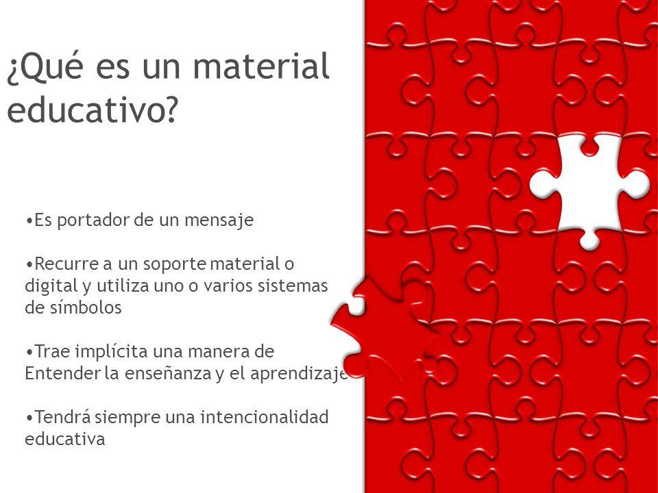 ¿Qué es un material educativo? Es portador de un mensaje Recurre a un soporte material o digital y utiliza uno o varios sistemas de símbolos Trae impl