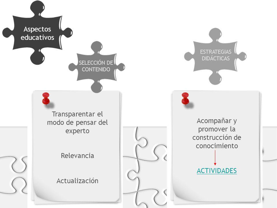 Aspectos educativos FORMATOS Y SOPORTES SELECCIÓN DE CONTENIDO ESTRATEGIAS DIDÁCTICAS Transparentar el modo de pensar del experto Relevancia Actualización Acompañar y promover la construcción de conocimiento ACTIVIDADES