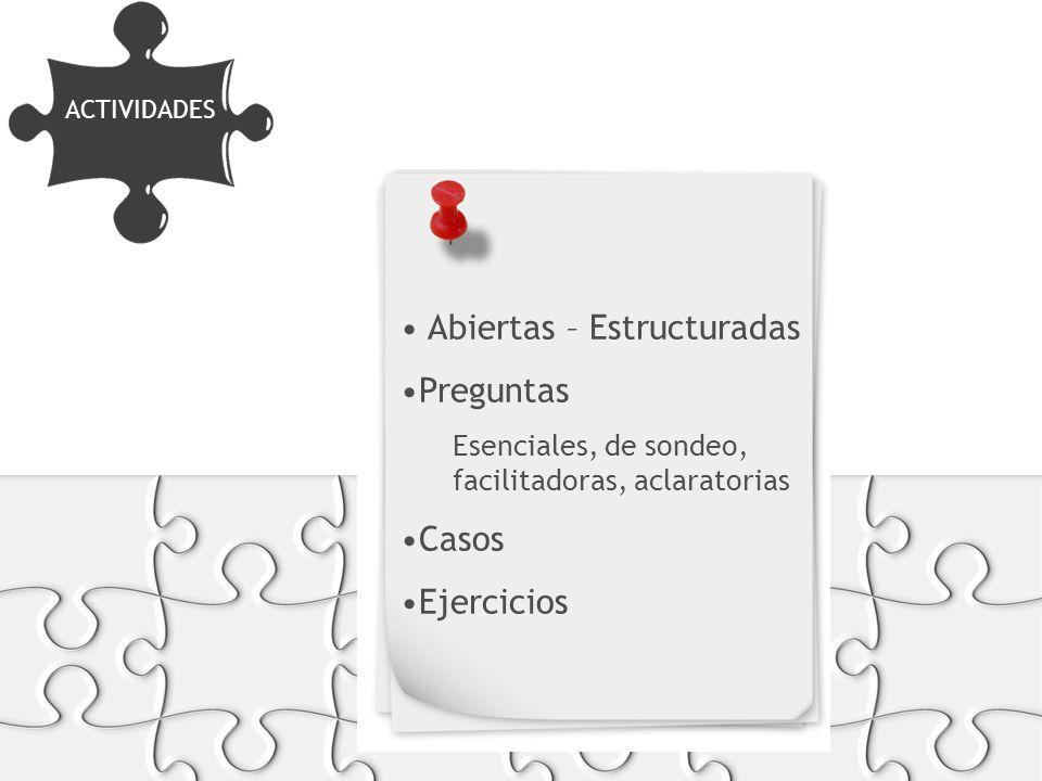 FORMATOS Y SOPORTES Abiertas – Estructuradas Preguntas Esenciales, de sondeo, facilitadoras, aclaratorias Casos Ejercicios