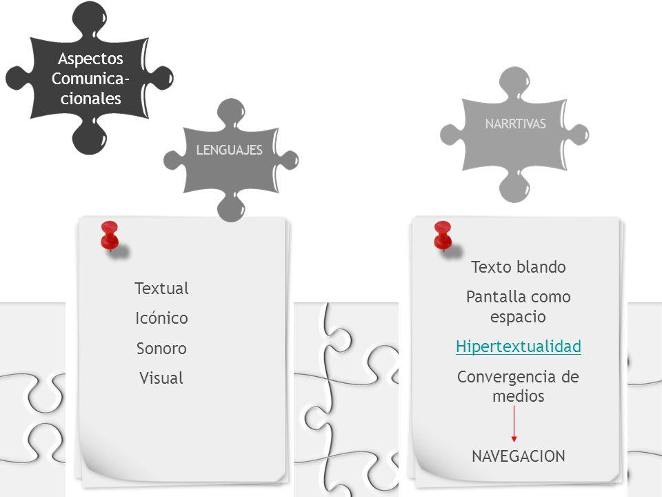 Aspectos Comunica- cionales FORMATOS Y SOPORTES LENGUAJES NARRTIVAS Textual Icónico Sonoro Visual Texto blando Pantalla como espacio Hipertextualidad Convergencia de medios NAVEGACION
