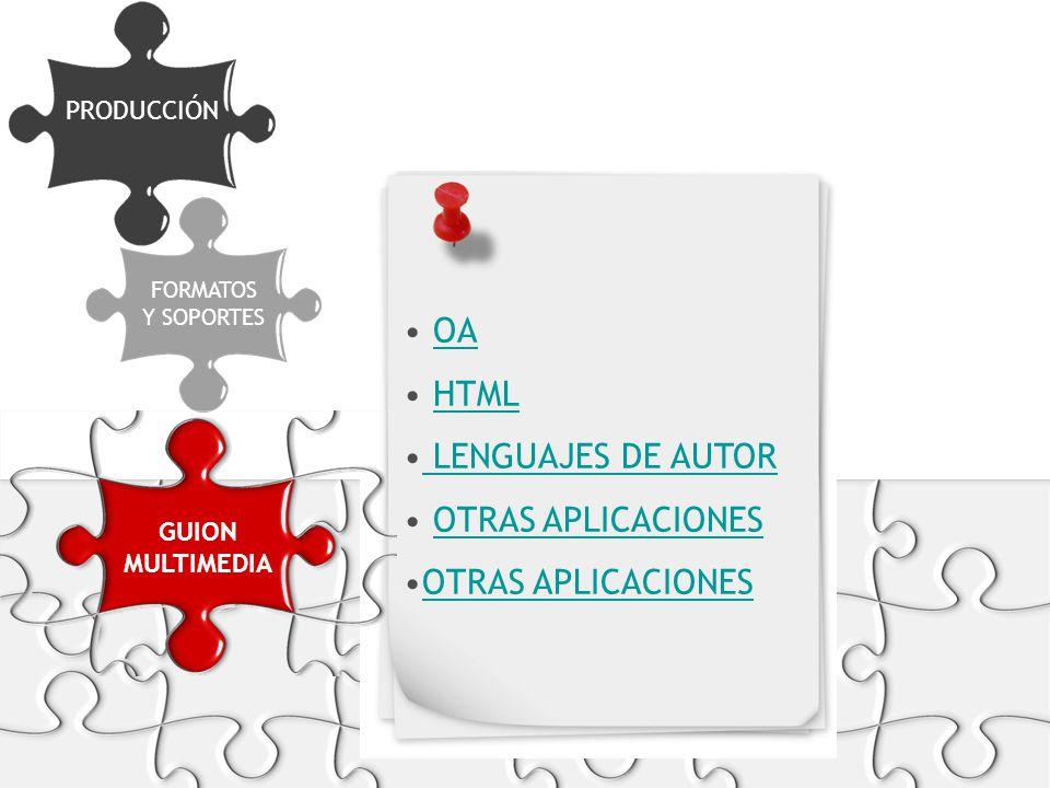 PRODUCCIÓN FORMATOS Y SOPORTES OA HTML LENGUAJES DE AUTOR OTRAS APLICACIONES GUION MULTIMEDIA
