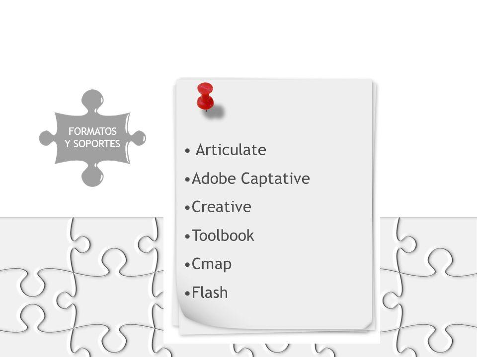 PRODUCCIÓN FORMATOS Y SOPORTES Articulate Adobe Captative Creative Toolbook Cmap Flash