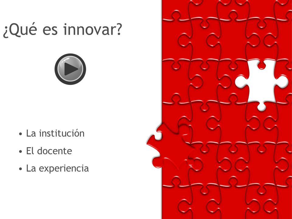 ¿Qué es innovar? La institución El docente La experiencia