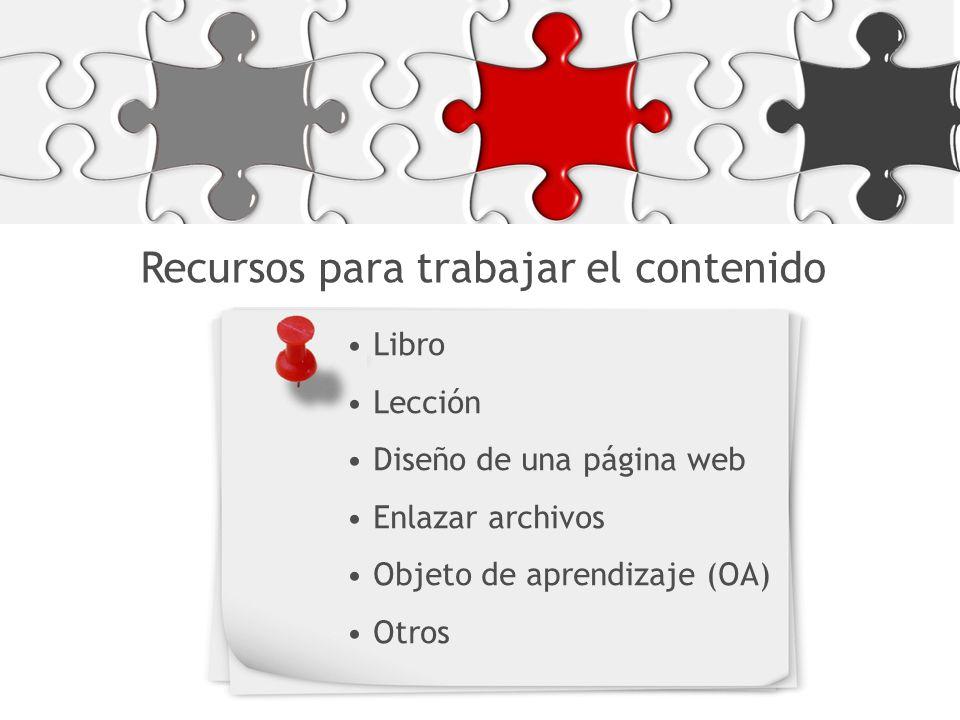 Recursos para trabajar el contenido Libro Lección Diseño de una página web Enlazar archivos Objeto de aprendizaje (OA) Otros